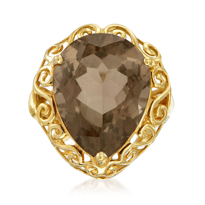 C. 1980 Vintage 13.50 Carat Smoky Quartz Ring in 14kt Yellow Gold. Size 7.5, , default