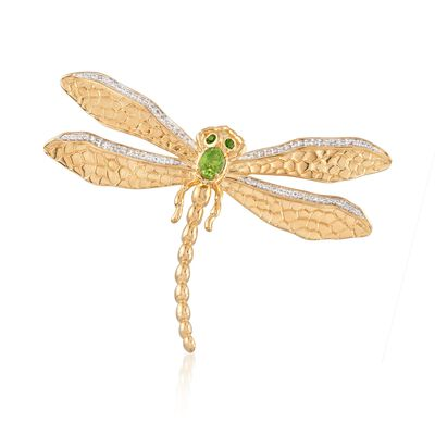 .88 ct. t.w. Multi-Stone Dragonfly Pin Pendant in 18kt Gold Over Sterling, , default