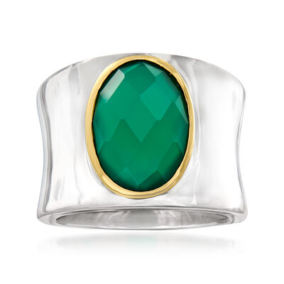 Green Agate Ring in Sterling Silver with 14kt Yellow Gold