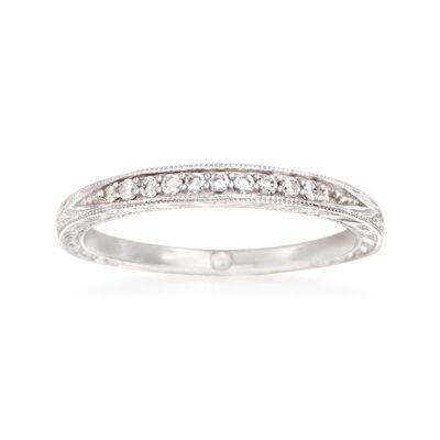 Gabriel Designs .10 ct. t.w. Diamond Wedding Band in 14kt White Gold, , default