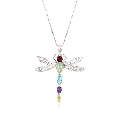 3.40 ct. t.w. Multi-Stone Dragonfly Pendant Necklace in Sterling Silver , , default