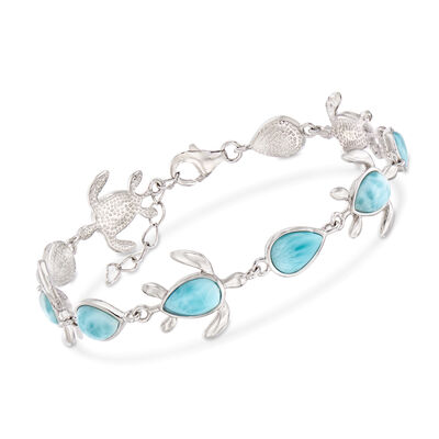 Larimar Turtle Bracelet in Sterling Silver, , default