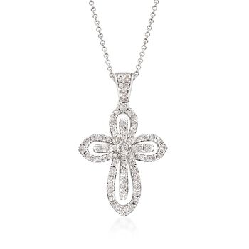 """Simon G. .79 ct. t.w. Diamond Cutout Cross Pendant Necklace in 18kt White Gold. 18"""", , default"""
