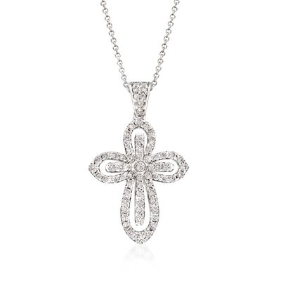 Simon G. .79 ct. t.w. Diamond Cutout Cross Pendant Necklace in 18kt White Gold, , default