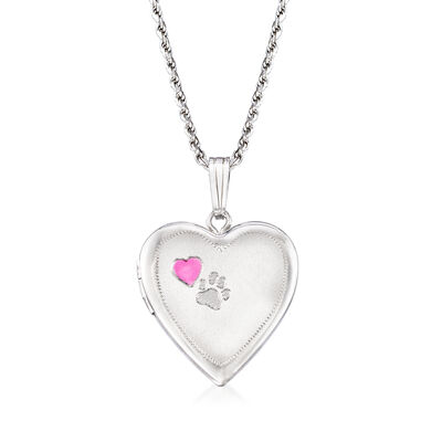 Heart and Paw Print Memorial and Photo Locket Pendant Necklace in Sterling Silver, , default