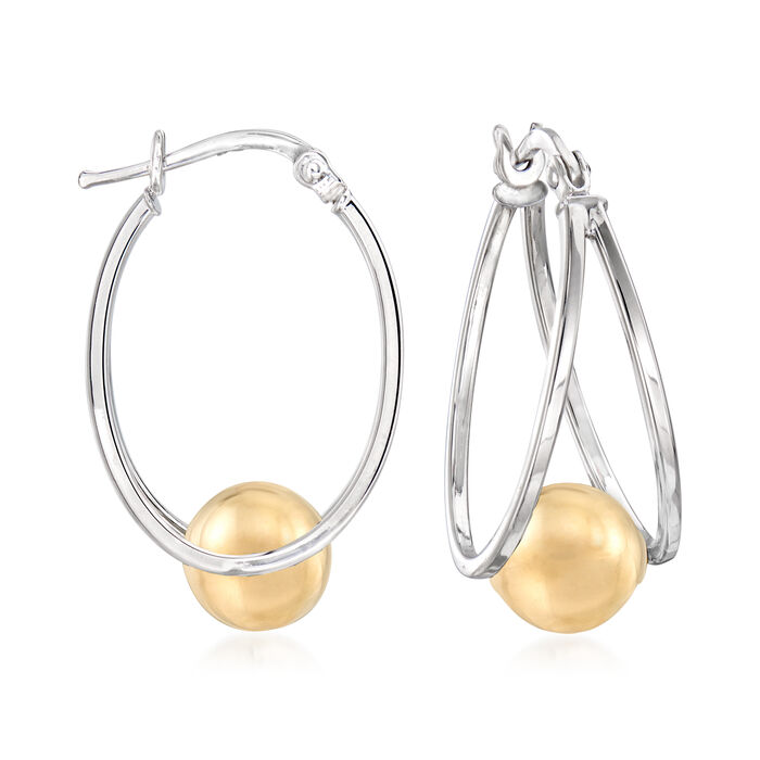Sterling Silver and 14kt Yellow Gold Double-Hoop Earrings with Bead. 1""