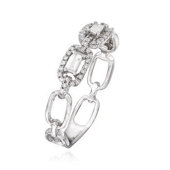 .31 ct. t.w. Diamond Interlocking Chain Ring in 18kt White Gold. Size 7