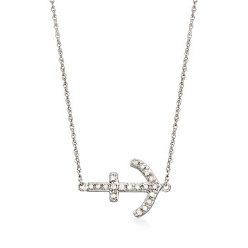 """.15 ct. t.w. Diamond Sideways Anchor Necklace in Sterling Silver. 18"""", , default"""