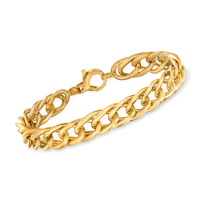 "Italian 14kt Yellow Gold Curb-Link Bracelet. 8.25"", , default"