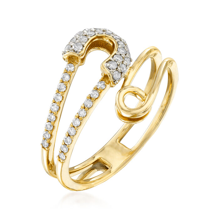 .23 ct. t.w. Diamond Safety Pin Bypass Ring in 14kt Yellow Gold
