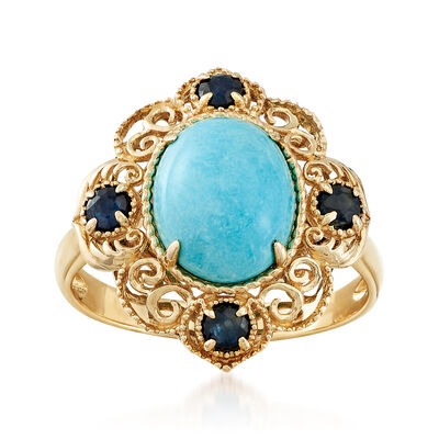 Turquoise and .40 ct. t.w. Sapphire Ring in 14kt Yellow Gold, , default