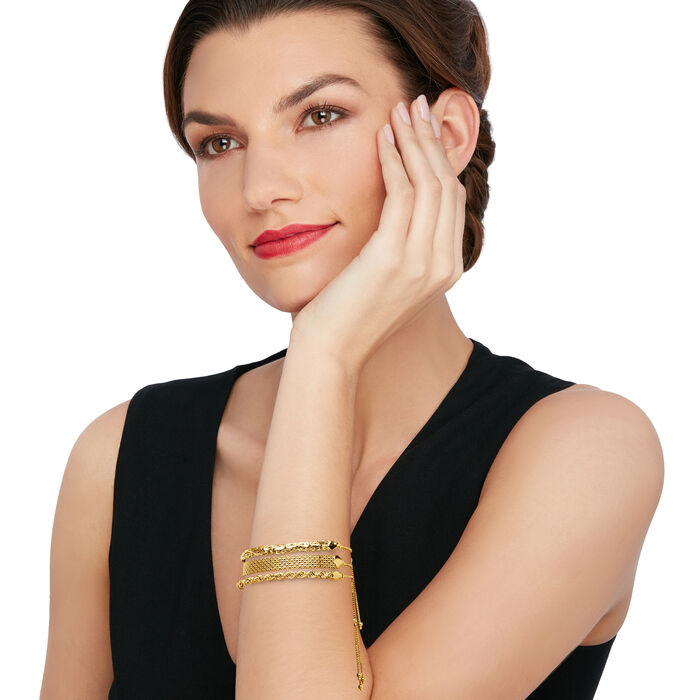 18kt Gold Over Sterling Jewelry Set: Three Multi-Link Bolo Bracelets