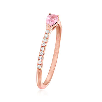 .30 Carat Pink Sapphire and .10 ct. t.w. Diamond Ring in 14kt Rose Gold  . Size 7, , default
