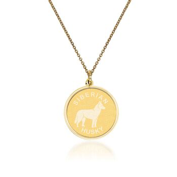 "14kt Yellow Gold Siberian Husky Pendant Necklace. 18"", , default"