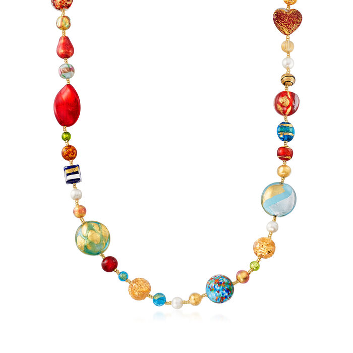 Italian 7.5mm Cultured Pearl and Murano Glass Bead Necklace in 18kt Gold Over Sterling , , default