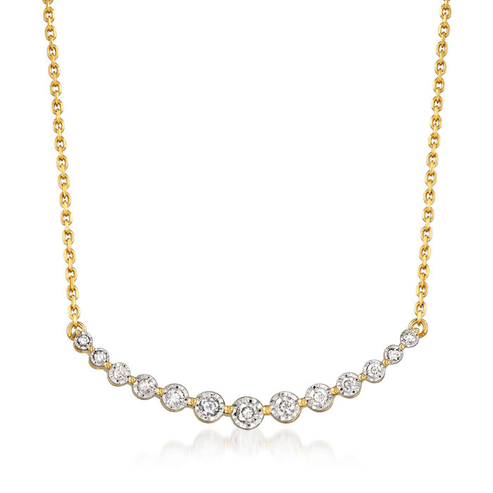 .50 ct. t.w. Diamond Curved Bar Necklace in 18kt Gold Over Sterling