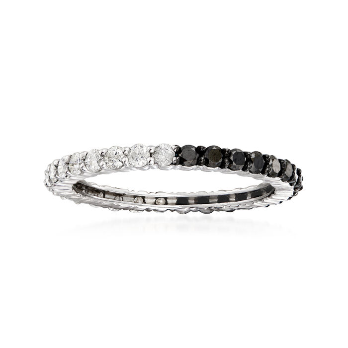 1.00 ct. t.w. Black and White Diamond Eternity Band in Sterling Silver