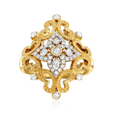 .50 ct. t.w. Diamond Openwork Ring in 18kt Gold Over Sterling, , default
