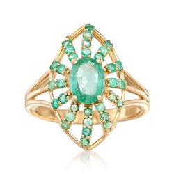 1.50 ct. t.w. Emerald Burst Ring in 14kt Yellow Gold, , default