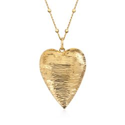 Italian 24kt Yellow Gold Over Sterling Silver Heart Pendant Necklace, , default