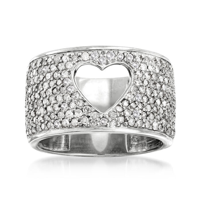 1.00 ct. t.w. Diamond Open-Space Heart Ring in Sterling Silver, , default