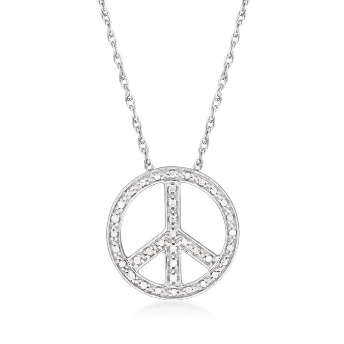 .10 ct. t.w. Diamond Peace Sign Pendant Necklace in Sterling Silver