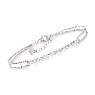 .50 ct. t.w. CZ Row Bracelet in Sterling Silver, , default