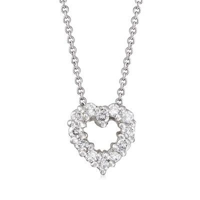 C. 1990 Vintage .25 ct. t.w. Diamond Heart Pendant Necklace in 14kt White Gold, , default