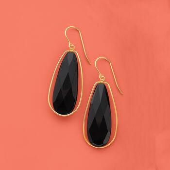 Black Onyx Dangle Earrings in 14kt Yellow Gold, , default