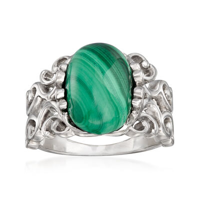 Cabochon Malachite Ring in Sterling Silver, , default