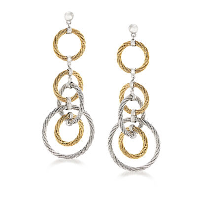 "ALOR ""Classique"" Stainless Steel and 18kt White Gold Multi-Circle Drop Earrings"