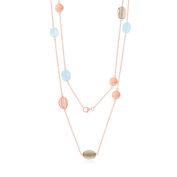 20.00 ct. t.w. Aquamarine and 20.00 ct. t.w. Smoky Quartz Bead Necklace in 18kt Rose Gold Over Sterling. 36""