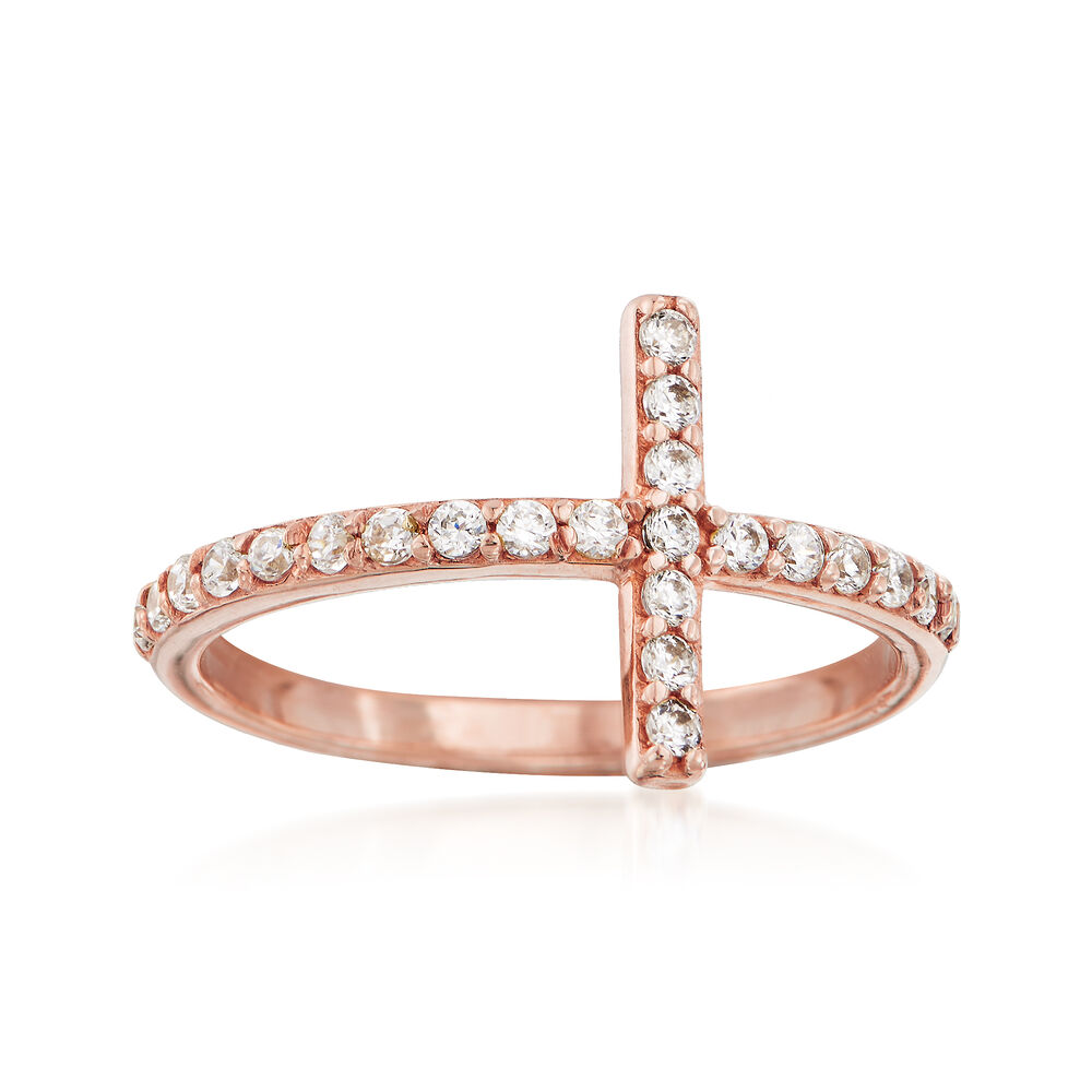 82c1c96f5691e .35 ct. t.w. CZ Sideways Cross Ring in 14kt Rose Gold