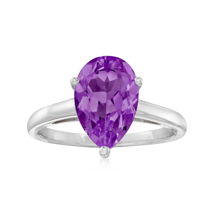 2.80 Carat Pear-Shaped Amethyst Ring in Sterling Silver