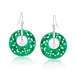 Carved Green Jade and 5mm Cultured Pearl Earrings With White Topaz in Sterling Silver, , default