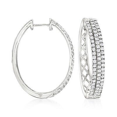 2.00 ct. t.w. Diamond Oval Hoop Earrings in Sterling Silver