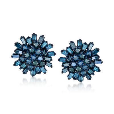 .75 ct. t.w. Blue Diamond Earrings in Sterling Silver, , default