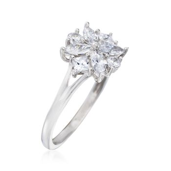 .90 ct. t.w. Multi-Cut CZ Floral Ring in Sterling Silver, , default