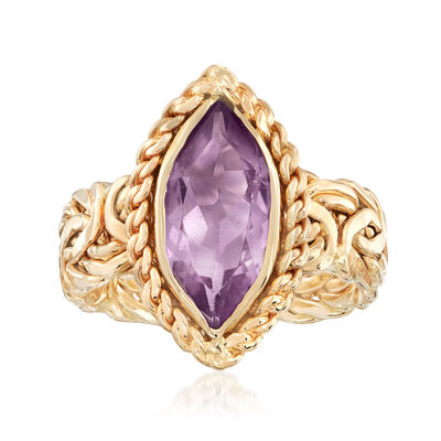3.50 Carat Amethyst Byzantine Ring in 14kt Yellow Gold, , default