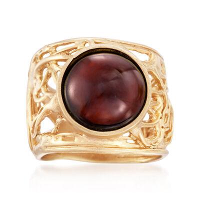 7.00 Carat Cabochon Garnet Ring in 18kt Gold Over Sterling, , default