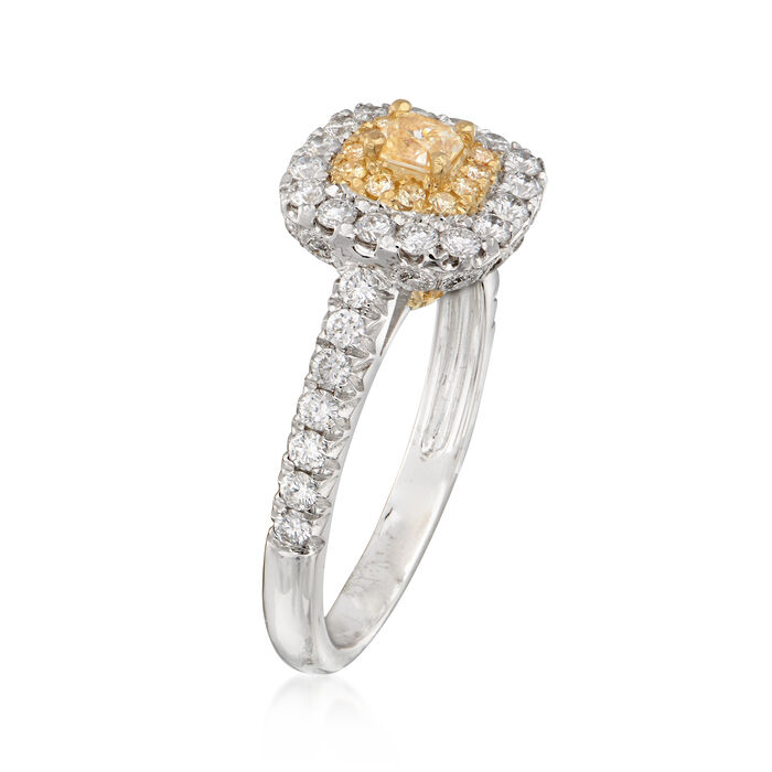 1.01 ct. t.w. Yellow and White Diamond Ring in 18kt Two-Tone Gold