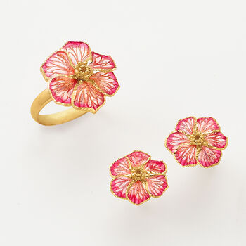 Italian Enamel Flower Earrings in 18kt Yellow Gold, , default
