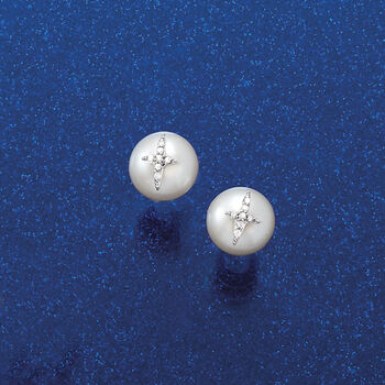 8.5-9mm Cultured Pearl and Diamond-Accented Ross-Simons Signature Earrings in Sterling Silver, , default