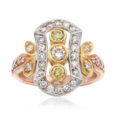 C. 1990 Vintage 1.02 ct. t.w. White and Yellow Diamond Dinner Ring in Tri-Colored Gold, , default