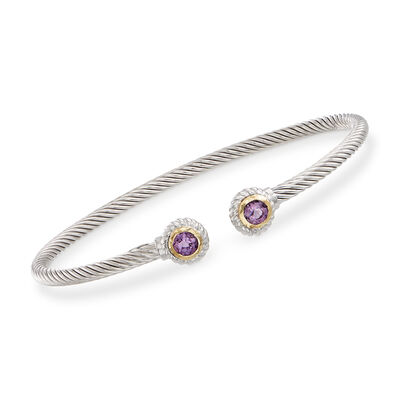 "Phillip Gavriel ""Italian Cable"" .60 ct. t.w. Amethyst Sterling Silver Cuff Bracelet with 18kt Gold, , default"