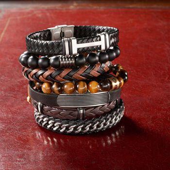 "Men's Black Leather and Stainless Steel Curb-Link Bracelet. 8.5"", , default"