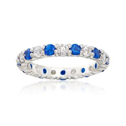 Simulated Sapphire and .80 ct. t.w. CZ Eternity Band in Sterling Silver, , default
