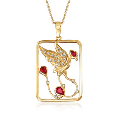 C. 1990 Vintage .50 ct. t.w. Ruby and .15 ct. t.w. Diamond Bird Open-Space Pendant Necklace in 18kt Yellow Gold
