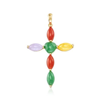 Multicolored Jade Cross Pendant in 14kt Yellow Gold, , default