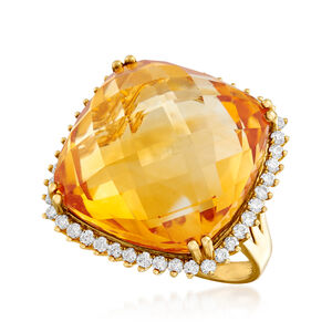 25.00 Carat Citrine and .80 ct. t.w. Diamond Ring in 14kt Yellow Gold #909656